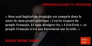 """""""Sans dénigrer les CivicTech, ce peuple Français n'est pas forcément sur la toile"""" Civic Tech interview Nicolas Dupont Aignan"""